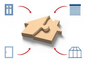 Wooden house shape puzzles, with two jigsaw pieces