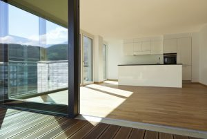 beautiful new apartment, view of the kitchen from the veranda
