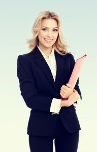 Portrait of young happy smiling businesswoman with red folder, with blank copyspace area for text or slogan