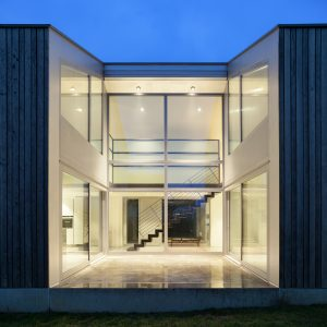 beautiful modern house, night scene